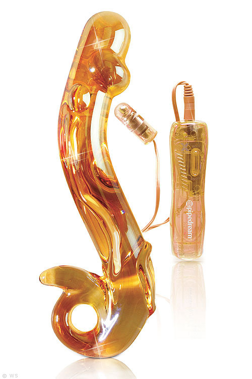 Gold glass wand with vibrator