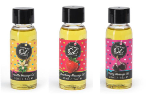 Lovehoney Oh! Lickable Massage Oil in Vanilla, Strawberry, and Cherry
