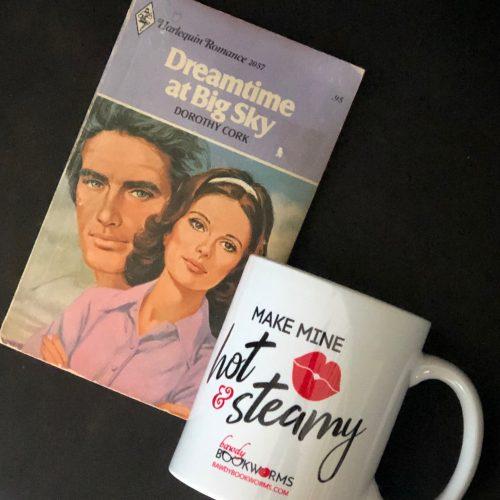 Bawdy Bookworms mug with vintage romance book